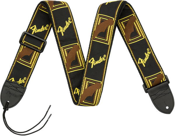 "FENDER® 2"" MONOGRAMMED STRAPS BLK YELLOW BROWN"